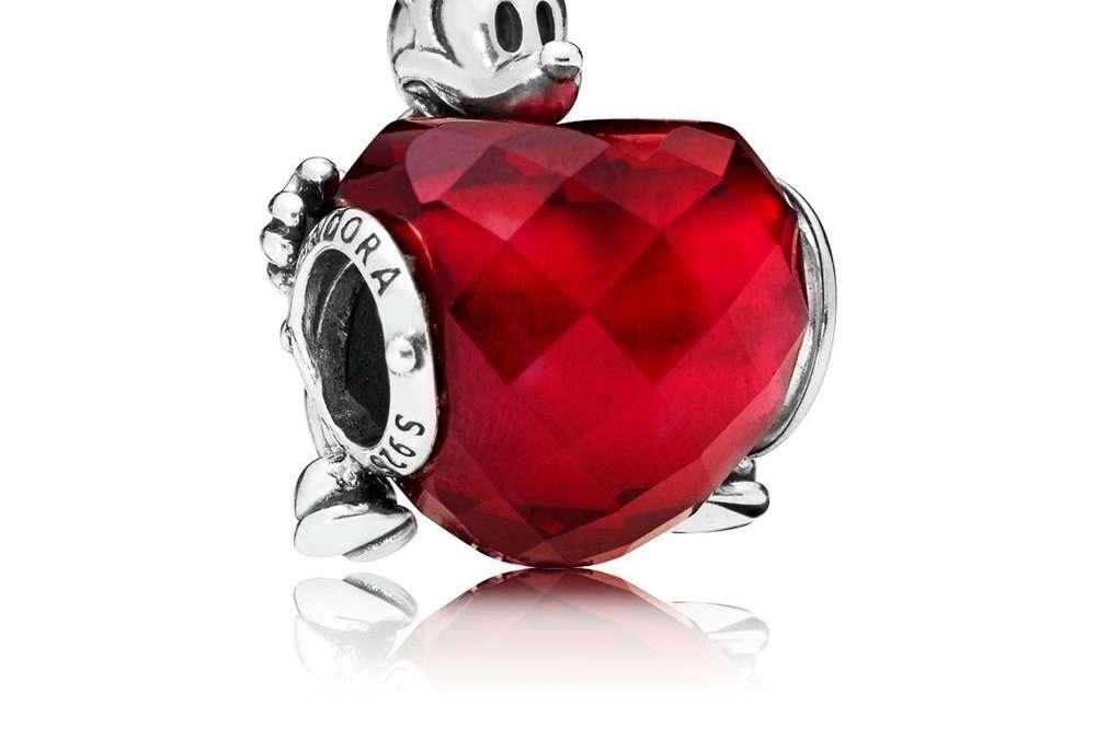 797168NFR, Pandora Charm Disney, Mickey Love Heart Disney Mickey heart with fuchsia rose crystal Sterling Silver