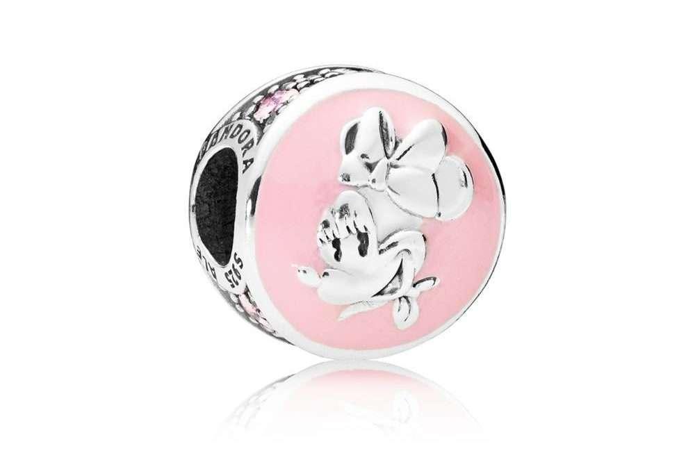 797170EN96, Pandora Charm Disney, Vintage Minnie Disney Minnie with pink enamel, clear and pink cubic zirconia Sterling Silver